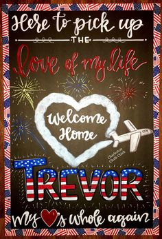 edeber Military Homecoming Sign / welcome home / chalkboard / deployed / deployment / Charleston Cha Homecoming Poster Ideas, Military Homecoming Signs, Marine Homecoming, Military Wedding, Welcome Home Signs For Military, Welcome Home Soldier, Military Deployment, Military Quotes, Military Girlfriend