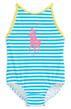 Ralph Lauren Stripe One-Piece Swimsuit (Baby Girls) available at #Nordstrom