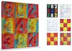 Jasper Johns Painting. Made with foam numbers, CD case and acrylic paint. #jasperjohns by Art Projects for Kids