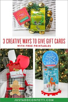 Looking for creative ways to give gift cards this holiday season? I've got you covered! This ideas and fun and creative and they each come with a free printable tag. Download all of the free printables in the Just Add Confetti printable library! #christmas #giftcards #getgifting #JustAddConfetti #VanillaGiftCards #Christmasgifts #gifting
