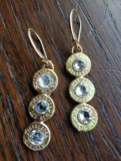 Amazing Unique Winchester Bullet Case Triple Drop Hook Earrings, Ammo with Gemstone . Amazing Unique Winchester Bullet Case Triple Drop Hook Earrings, Ammo with Gemstone Jewelry Gift for Man or Woman Shotgun Shell Jewelry, Ammo Jewelry, I Love Jewelry, Leather Jewelry, Metal Jewelry, Jewelry Crafts, Jewelery, Jewelry Making, Shotgun Shells