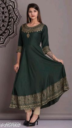 Kurtis & Kurtas Women's Printed Rayon Anarkali Kurti Fabric: Rayon Sleeve Length: Long Sleeves Pattern: Applique Combo of: Single Sizes: XL (Bust Size: 32 in Size Length: 20 in)  L (Bust Size: 32 in Size Length: 20 in)  M (Bust Size: 32 in Size Length: 20 in)  XXL (Bust Size: 32 in Size Length: 20 in) Country of Origin: India Sizes Available: S, M, L, XL, XXL   Catalog Rating: ★4.3 (464)  Catalog Name: Women's Printed Rayon Kurtis CatalogID_692315 C74-SC1001 Code: 134-4755774-2901