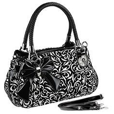 MG Collection Tweed Floral Bow Shoulder Bag Black One Size -- Click image to review more details.