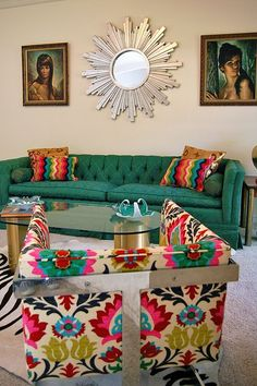 living room, teal sofa, retro mirror