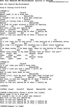 Love Song Lyrics for: How You Remind Me-Nickleback with chords for Ukulele, Guitar Banjo etc.
