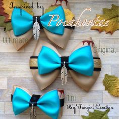 Pocahontas Inspired Bow by FangirlCreation on Etsy Disney Diy, Disney Crafts, Broches Disney, Princess Hair Bows, Princess Tiana, Disney Hair Bows, Headpiece Jewelry, Boutique Hair Bows, Making Hair Bows