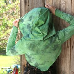 Green hooded fairy or elven shrug in marbled by Tonyaringdesigns