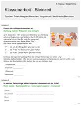 Klassenarbeit zu Steinzeit Gymnasium, Revolution, Paleolithic Era, Letter D, First Grade, Education, Stones