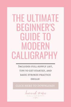 Grab this free download with everything you need to learn pointed pen calligraphy! Includes a full supply list, tips and tricks for beginners, and free practice sheets of the basic strokes! learn calligraphy, free calligraphy practice sheets, learn lettering, learn modern calligraphy, learn modern calligraphy free, how to learn modern calligraphy, learn a new skill, learn a new hobby, calligraphy supply list, calligraphy supplies for beginners, learn lettering, craft ideas, art therapy ideas Calligraphy Supplies, Calligraphy Practice, Calligraphy Pens, Art Therapy Projects, Therapy Ideas, Modern Calligraphy Tutorial, Art Therapy Directives, Calming Activities, Learn A New Skill