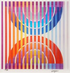 Yaacov Agam, born 1928, is an Israeli experimental artist and sculptor. Brilliant with shapes and color, he is best known for his contributions to kaleidoscopic optical and kinetic art. Usually abstract and transcending the visible, his works can be found in public spaces amidst light and sound, creating a total experience when explored.