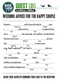 MAD LIBS  WEDDING edition  Birds on a Wire  printed by BlushNotes, $20.00
