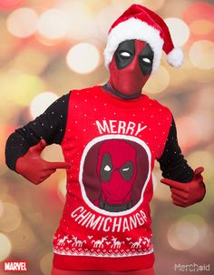 (affiliate link) Deadpool: Merry Chimichanga Knitted Unisex Christmas Sweater/Jumper Preorder