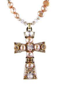 Swarovski® Pastel Crystals & Freshwater Pearl Cross Necklace – Celebrate Faith
