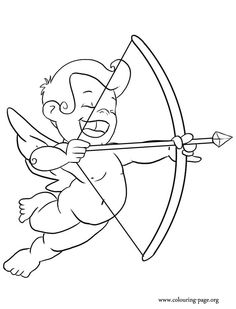 valentine coloring pages spanish | Valentines Day Cupid With Bow And Arrow Coloring Page ...