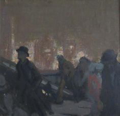 CHARLES HOFFBAUER (1875-1957), Figures on the Bridge, oil on board, framed