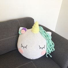 Crocheted Unicorn Cushion/Pillow  And guess what! The crochet pattern is coming to the stores very very soon!! ⭐️