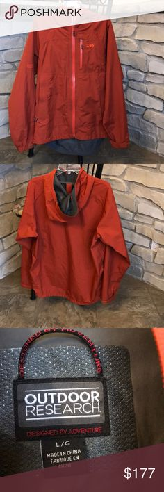 Outdoor Research Foray Jacket Outdoor Research Mens Foray Jacket; With tags; Worn one time; Excellent condition; Color is Burnt orange/rust; size Large; Gore-Tex 2 layer shell; TorsoFlo hem-to-bicep zippers allow you to vent out poncho style on the steep sections of the trail; Entire jacket can be stuffed into its own pocket; Adjustments at hood, hem cuffs. Outdoor Research Jackets & Coats Raincoats