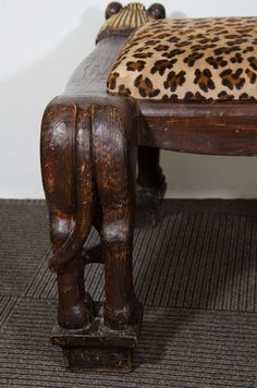 Egyptian Revival Style, Highly Decorative, Carved Wood Lion Bench image 8