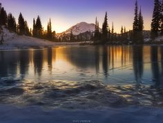 Photograph Frozen Tipsoo lake Mt Rainier by Vijay Chebium on Our Planet Earth, Continental Divide, North West, Beautiful Landscapes, Black Backgrounds, Beautiful Places, Frozen, Mountains, World