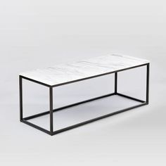 High Quality Box Frame Coffee Table   Marble/Antique Bronze