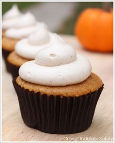 Pumpkin Cupcakes with Cinnamon Cream Cheese Frosting. Fall!!