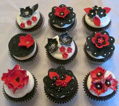 Red, black and white cupcakes