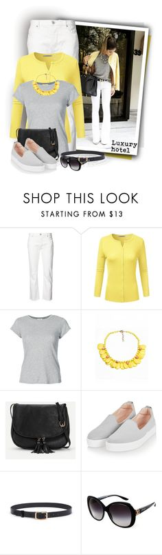"""""""Neck Basic Button Down Cardigan"""" by tasha1973 ❤ liked on Polyvore featuring Nili Lotan, RE/DONE, Topshop and Bulgari"""