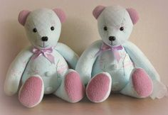 Remembrance bears created from a bed jacket & dressing gown.