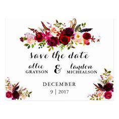 This save the date is a timeless, romantic design which features a burgundy watercolor floral wreath with feather and botanical accents.
