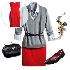 Bright Strapless Dress  Layer an oxford shirt and a roomy boyfriend sweater on top of your dress then belt it.