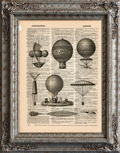 New to EcoCycled on Etsy: Aeronautics 1 Flying Machines on Vintage Upcycled Dictionary Art Print Book Art Print Balloons (10.00 USD)