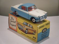 "Corgi No: 231 ""Triumph Herald"" - White/Blue (Boxed/Original 1960's) • EUR 140,49 - PicClick IT"