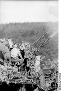 Camouflaged German 2 cm Flakvierling 38 anti-aircraft gun mounted atop a SdKfz. 7 half-track vehicle, immediately prior to Battle of Kursk, summer 1943
