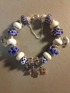 Sparkly Blue & White Zeta Phi Beta Greek Sorority SIGNATURE Charm Bracelet