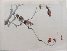 Artist: Watanabe Seitei. Subject: Birds on a branch. Signature: None. Date: c. 1900. Format: 30.5 x 21.5 cm