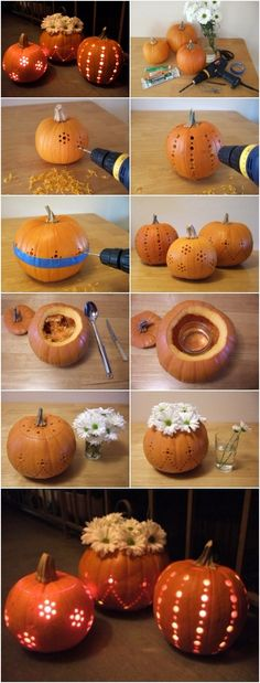 Supplies pumpkins glow sticks (see note in #9 below. I used 12-hour Cyalume Safety Lightsticks fromRedwood Trading Post) flowers (I recommend daisies or another long-lasting flower) painter's tape votives glass jar Tools drill drill bits (I used these sizes: 3/16, 1/4, 7/16) scissors carving knife scooping spoon More info and instructions about this great tutorial […]