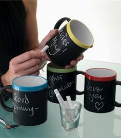 love the idea of writing cute notes to each other or labeling who is using which cup!