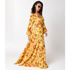 1970s Style Yellow Floral Long Sleeve V-Neck Maxi Dress ($81) ❤ liked on Polyvore featuring dresses, gowns, long-sleeve maxi dress, long-sleeve maxi dresses, white maxi dress, white long sleeve dress and long sleeve white gown