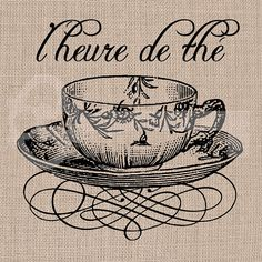 French Tea Time tea cup Image digital download by TanglesGraphics, $1.00