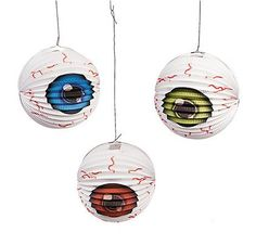 Hang these Eyeball Party Lanterns for eye-popping decorations at your Halloween event. These lanterns are a fun way to give guests a . Alien Party, Zombie Party, Party Kit, Party Shop, Girls Sleepover Party, Halloween Eyeballs, Scary Halloween, Mad Scientist Party, Hanging Paper Lanterns