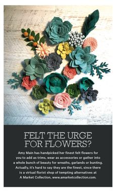 Flowers For You, Felt Flowers, Bunting, Garland, Succulents, Wreaths, Crafty, Plants, Ideas