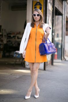 : Bold hues were even more statement-making against her white accents.