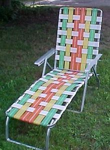 Vintage Retro Aluminum Folding Webbed Reclining Lawn Chair Chaise Lounge