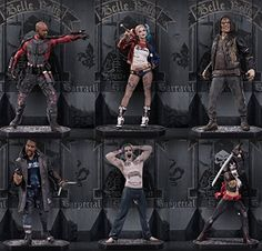 "From the Suicide Squad movie come all the main characters in a ""Killer"" set! Captain Boomerang, Killer Croc, Deadshot, Dc Comics Art, Joker And Harley Quinn, Katana, Squad, Movie Tv, Actors"