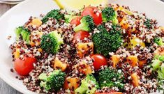 octoberfest food quinoa salad with broccolisweet potatoes and tomatoes on a rustic wooden focus. Baby Food Recipes, Diet Recipes, Vegan Recipes, Quinoa Pilaf, Polynesian Food, Gujarati Recipes, Gujarati Food, Unprocessed Food, Kale