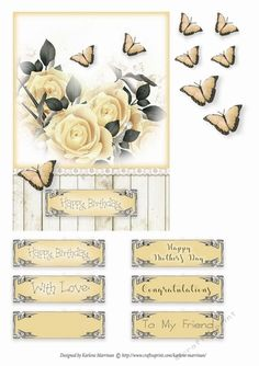 Pretty card 5 inch x 7 inch card topper with butterfly decoupage layers.  Sentiment Tags: With Love, Happy Birthday & Happy Mother's Day, To My Friend and Congratulations