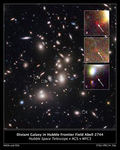 OCTOBER 16, 2014: Peering through a giant cosmic magnifying glass, NASA's Hubble Space Telescope has spotted one of the farthest, faintest, and smallest galaxies ever seen. The diminutive object is estimated to be more than 13 billion light-years away.