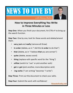 How To Improve Everything You Write In 3 Minutes Or Less  Read more: http://www.newstoliveby.net/2014/04/10/improve-writing/#ixzz2yy1Bgt2s