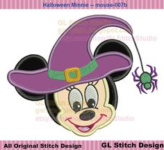 Halloween witch minnie mouse applique, Machine Embroidery Design, Disney fall Minnie face, instant download, mouse-007b