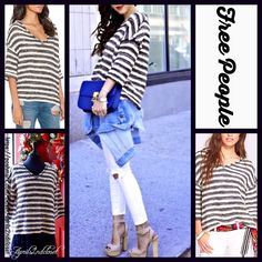 """FREE PEOPLE Sweater Oversized Boyfriend FREE PEOPLE Sweater Striped Pullover  New With Tags  Retail Price: $98 ***Model photos from WWW.shallwesalsa.com & WWW.Revolveclothing.com  * Allover contrasting stripes.  * It measures about 26.5"""" long.   * Subtle V-neck & 3/4 sleeves.  * Frayed edges.  * A subtly relaxed & boxy silhouette.    Fabric:92% Cotton & 8% Polyester Color:Black White Combo  Item:  No Trades No PayPal  ✅ Bundle Discounts   ✅ ✅ Offers Considered*✅  *Please use the blue 'offer'…"""